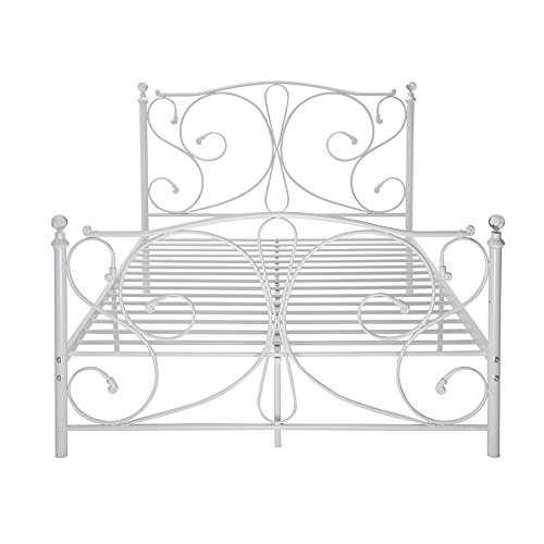 WEIBO 4FT6 Luxury Designed Double Metal Bed Frame with Crystal Finials White Iron Bedstead for Kids Adult Bedroom
