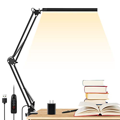 LED Desk Lamp, ENOCH 14W Eye-Caring Metal Swing Arm Desk Lamp with Clamp, 3 Modes, 30 Brightness Dimmable Clamp Desk Light with Memory Function/USB...