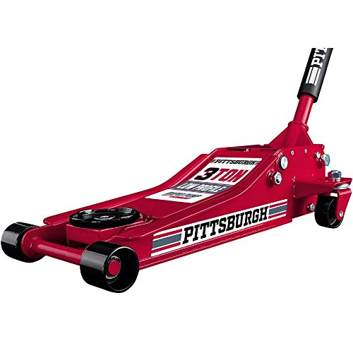 Pittsburgh Automotive 3 Ton Heavy-Duty Ultra Low Profile Steel Floor Jack with Rapid Pump Quick Lift