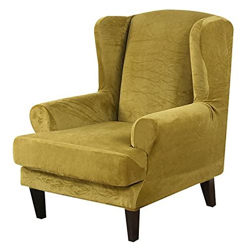 NLCYYQ Funda para Sillón De Orejas Terciopelo, 2 Piezas Funda Cubre Sillón Relax Elásticas Protección De Muebles De Felpa Suave para Sillón Funda De Sillón De Orejas (Amarillo)