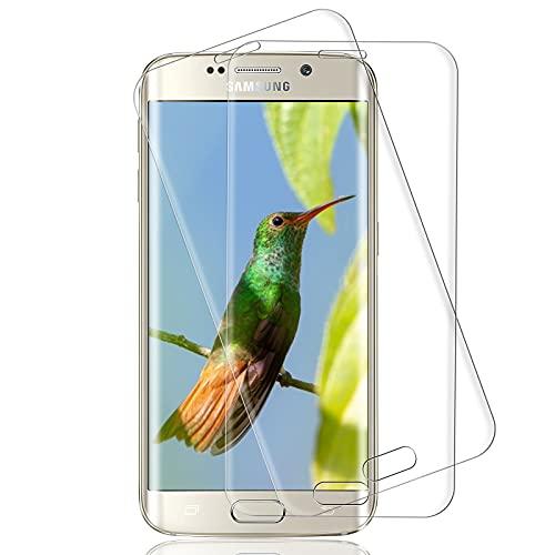 [2 Pezzi] Pellicola Protettiva Compatibile con Samsung Galaxy S6 Edge, Anti-Graffio, Anti-Fingerprint, Bubble-Free Protezione Schermo, Vetro Temperato per Samsung Galaxy S6 Edge, Trasparente