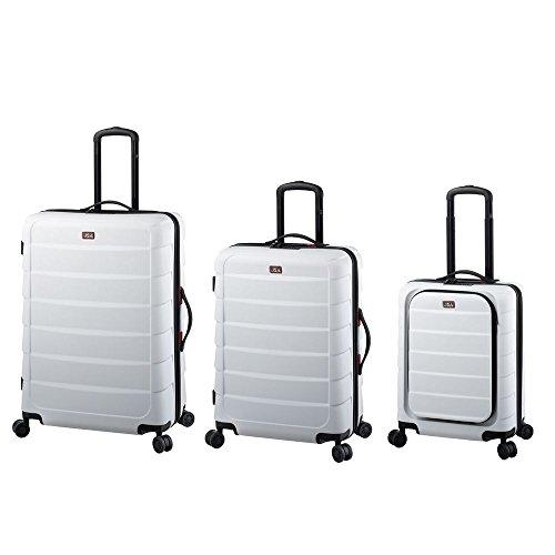 JSA 3-delig reistrolley - koffer met harde schaal gemaakt van ABS - kunststof, elk 4x 360° lichtlopende wielen koffer, 72 cm, 184 L, wit