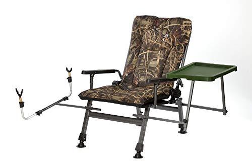 Angelstuhl Campingstuhl Carp F5R ST/P CAMU Stuhl Deluxe Karpfen Angler Campingstuhl mit extra Höhe und Tisch Angelrutenhalter