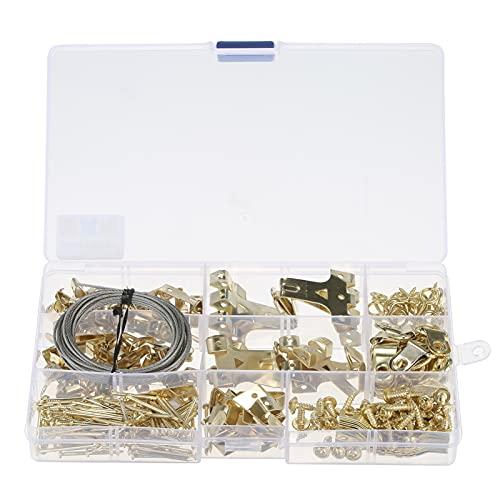 Voupuoda 250 Uds, Conjunto de ganchos para cuadros, colgadores para colgar cuadros, fijaciones de pared, conjunto de colgadores para cuadros surtidos, ganchos para colgar, pernos, tornillos