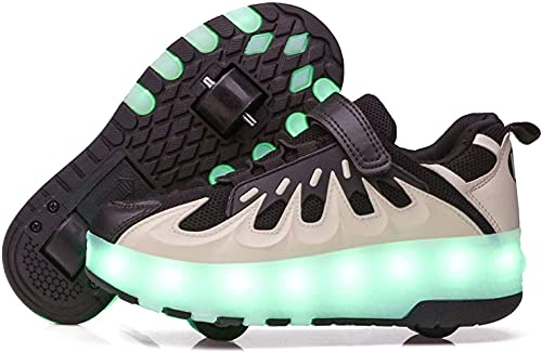 XRDSHY Zapatillas De Patinaje De Rodillo LED Unisex con Carga Parpadeante Zapatos De Patinaje Luminoso Deportes Al Aire Libre Gimnasia Roller De Moda Cuchillas,Black and White-32