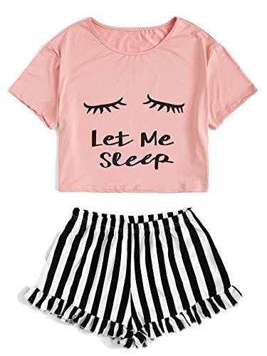 DIDK Damen Kurz Schlafanzug mit Slogan Pyjama Set Streifenhose Hausanzug Sommer Sleepwear Rosa S