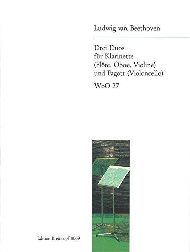 3 Duos WoO 27 für Klarinette (Flöte, ob, Violine), Fagott (Cello) - Partitur und Stimmen (EB 8069)