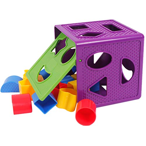 STOBOK Blöcke Form Sorter Spielzeug Geometrische Form Blöcke Und Sorter Sortierwürfel Box für Kinder im Vorschulalter Kleinkinder Mädchen Jungen Geburtstagsgeschenk (Lila)