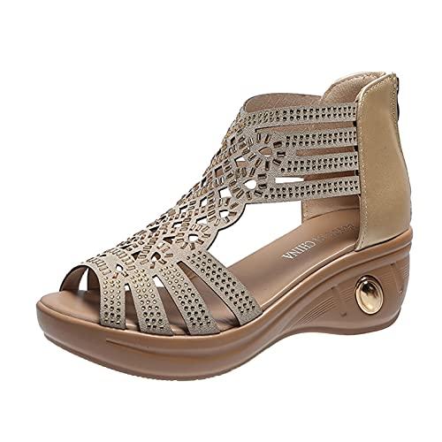 Sandalias Mujer con cuña Zapatos tacón Plataforma Romanas de Mujer tacónes Diamante...