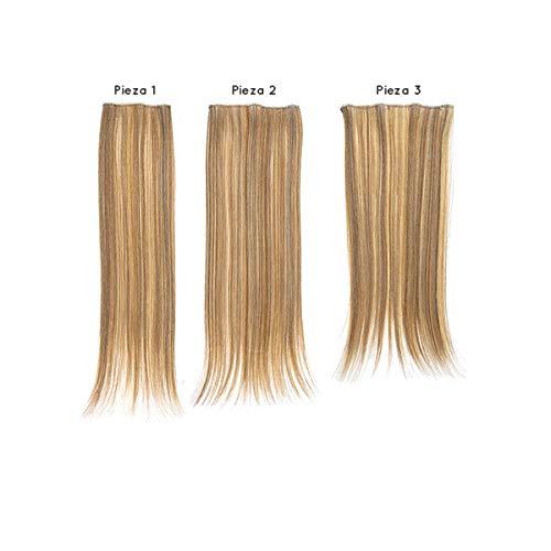 SANGRA HAIR Extensiones de cabello de fibra con memoria Lisas Pelo sintético 3 piezas 50 cm largo 75gr para mujer – Apto para plancha hasta 160ºC – Conserva estilo tras el lavado. (Platino (M1001))