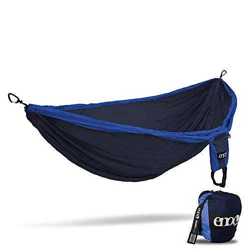 ENO, Eagles Nest Outfitters Double Deluxe Lightweight Camping Hammock, 1 to 2 Person, Navy/Royal