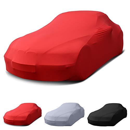 Porsche passend Stretch Soft Cover Indoor Autoplane Autoabdeckung Auto Car Cover Abdeckplane Schmutzabweisend Autogarage Staubdicht extrem Atmungsaktiv Autodecke (Rot)