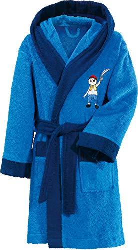 Erwin Müller Kinder-Bademantel mit Kapuze Frottier blau Größe 134/140 - hochwertiger Stickmotiv Pirat, mit Taschen und Bindegürtel (weitere Größen)