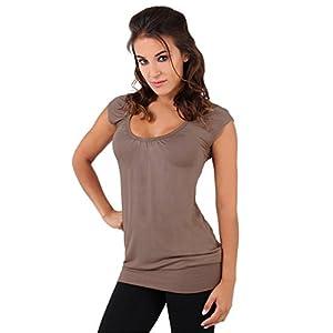 KRISP Mujer Camiseta Larga Básica Manga Corta Ancha Casual Escote | DeHippies.com