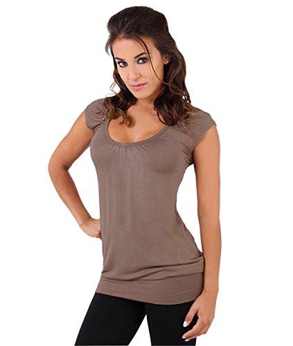 KRISP Mujer Camiseta Larga Básica Manga Corta Ancha Casual Escote