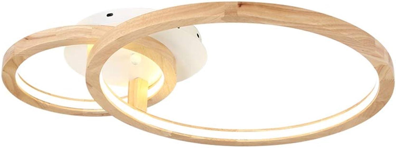 Japanische Runde Holz Deckenleuchte Fernbedienung Dimmbar Holzlampe 2 Ring design kreative Deckenlampe Modern minimalistischer Deckenstrahler Wohnzimmer Schlafzimmer L59cm 30W Lumen