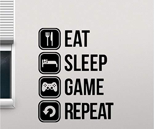 yuandp Eat Sleep Game Repeat Sticker Gaming Vinyl Sticker Joystick Gamepad Gamer Muurkunst Ontwerp Teen Slaapkamer Decoratie 42x53cm