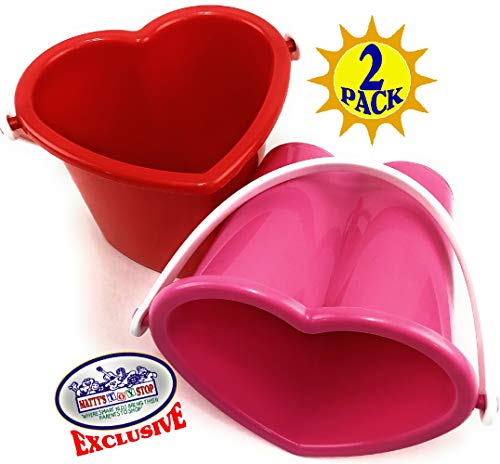 Matty's Toy Stop Beach Gear 6' Plastic Heart Shape Sand Buckets (Pails) Red & Pink Party Set Bundle...