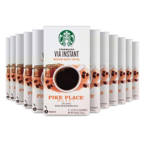 Starbucks VIA Instant Coffee Medium Roast Packets — Pike Place Roast — 100% Arabica - 8 Count (Pack of 12)