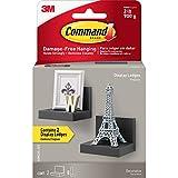 Command Display Ledges, Slate, 2-Ledges, 8-Medium Foam Strips (HOM23S-2ES), Decorate Damage-Free