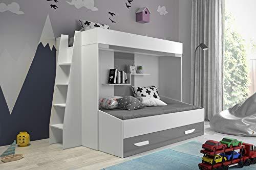 Etagenbett für Kinder PARTY 17 Stockbett mit Treppe und Bettkasten KRYSPOL (Weiß + Grau Glanz)
