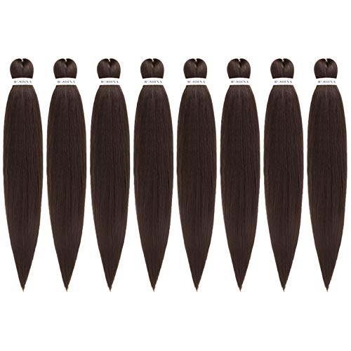 """Pre Stretched Braiding Hair Pure Dark Brown 30 Inch 8 Packs Super Long Itch Free Hot Water Setting Synthetic Fiber Crochet Braiding Hair Extension(30"""", 4#)"""