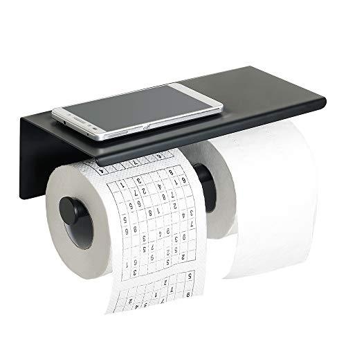 Sayayo Doppel-Toilettenpapierhalter Rollenhalter mit Ablage, optional selbstklebend oder Schrauben montiert, SUS-304 Edelstahl matt schwarz lackiert, EGYT880-B