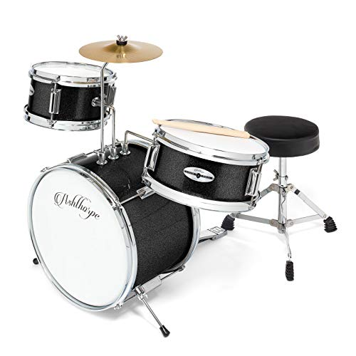 Ashthorpe 3-Piece Complete Kid's Junior Drum Set - Children's Beginner Kit with 14' Bass, Adjustable Throne, Cymbal, Pedal & Drumsticks - Black