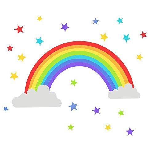 WopenJucy Nubes y Arco Iris Vinilo Pegatinas Decorativas Adhesiva Pared Dormitorio Salón Guardería Habitación Infantiles Niños Bebés