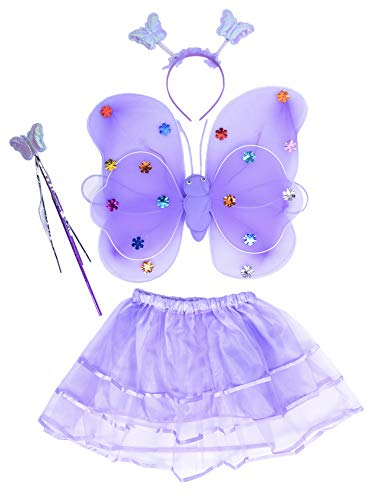 THEE Costume da Elfa o Principessina in 4 Pezzi a Forma di Ali di Farfalla con Luci LED e Bacchetta Magica Costume per Bambine in Occasione di Feste Carnevale Halloween (Lila)