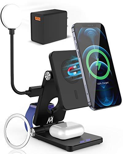 KKM Magnetisch kabellos Ladegerät, kompatibel mit Magsafe Ladegerät, 4 in 1 Faltbare kabellose Ladestation für iPhone 12/12 Pro Max/11 Series/X XS XR, Apple Watch/Airpods Pro (mit QC 3.0 18W Adapter)