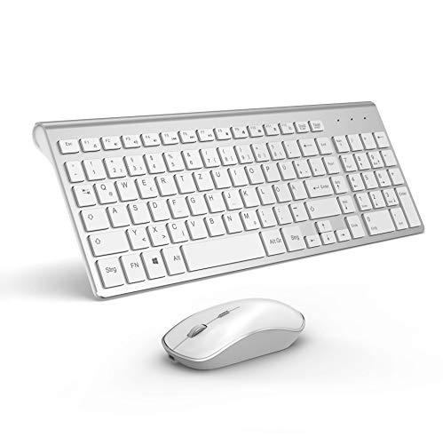 JOYACCESS Tastatur Maus Set Kabellos, 2.4G Kabellose Tastatur mit 2400DPI Funkmaus Wiederaufladbar Kombi für PC, Laptop, Smart TV, QWERTZ Deutsches Layout, Weiß und Silber