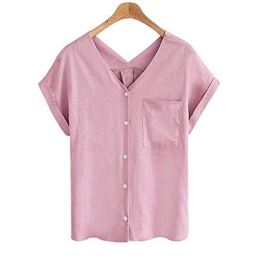 HOSD Camiseta de algodón y Lino con Cuello de Pico Redondo Superior de