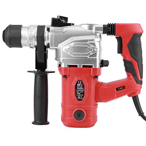 Bohrhammer Elektrisches Hammerset Elektrikerwerkzeuge 1500W 360-Grad Verstellbarer Bequemer Gummigriff, Aufprallenergie 4.9J(EU Stecker)