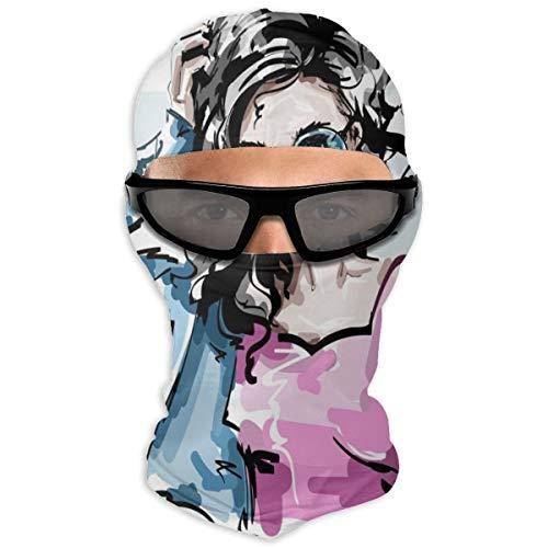 N/Een Full Face Masker Modieuze Elegante Meisje In Jeans Jas - Mijn Stijl Hood Zonnebrandcrème Masker Dubbele Laag Koud Voor Mannen En Vrouwen