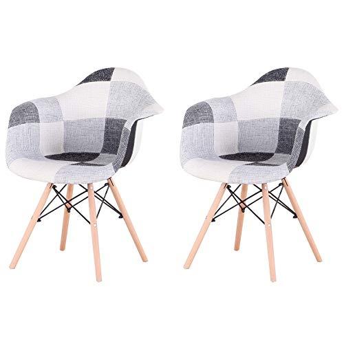 Pack de 2 sillas,sillas de Comedor Patchwork Tela de Lino Butaca, Silla de salón, sillas de recepción, Silla de Cocina,Silla de Estilo Retro nórdico (Gris)