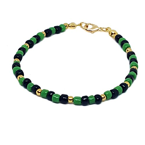 18kt Brazilian Gold Layered Ogun Santero Bracelet with Green and Black 4mm Beads. 8-1/2' length.