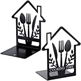Cookbook Bookends Fork Knife Spoon Decor Metal Bookends Supports Holders for Shelves Kitchen Book Cookbook Storage Cooking Time House Appearance Design Modern Functional Chef Housewarming