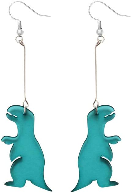 Mountainer 4 Pairs Cute Dinosaur Animals Drop Earrings Punk Party Cool Earrings for Women Girl Funny Jewelry Creative Gift