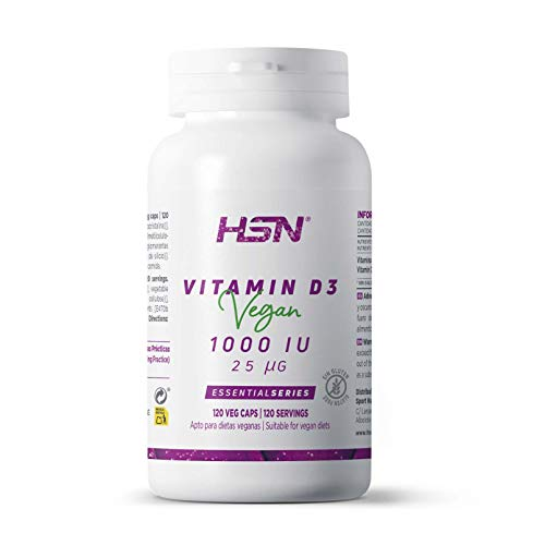 Vitamina D3 Vegana de HSN | 1000 IU Colecalciferol (procedente del Liquen) | Suministro para 4 Meses | Absorción de Calcio + Salud Ósea | Vegano, Sin Gluten, Sin Lactosa, 120 Cápsulas Vegetales