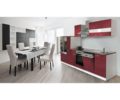 respekta Küchenzeile 310 cm weiß rot Ceran - mit APL Nussbaum (Nachbildung) KB310WRC