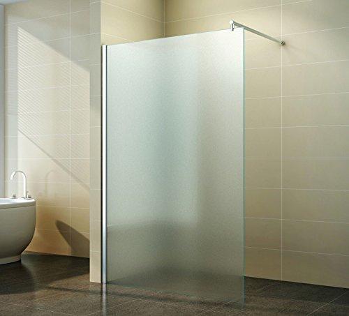 Duschabtrennung Walk in Vollsatiniert Milchglas - Schicke Duschwand freistehend aus Glas für maximale Flexibilität, Freiraum & Komfort im Badezimmer, Breite:100 cm
