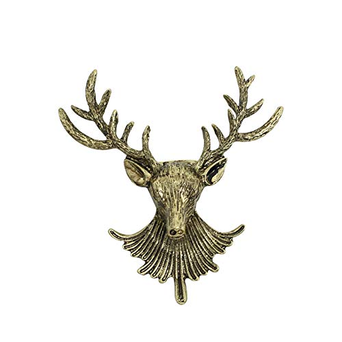 RelaxLife Brooches Vintage Deer Antlers Head Brooch Jewelry Unisex Alloy Bronze Animal Pins Brooches For Men Women Christmas Xmas Gifts Broochs