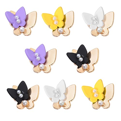 FRCOLOR 8 Piezas de Decoración de Uñas de Mariposa en 3D con Adornos de Doble Mariposa de Colores para Uñas