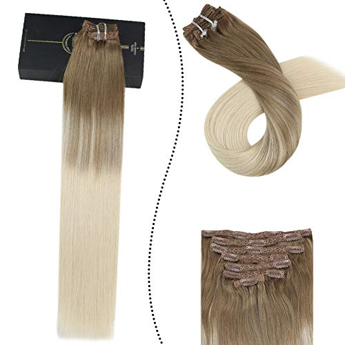 Ugeat 14 Pulgada Balayage Color Clip in Remy Hair