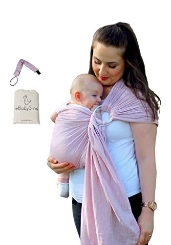 Baby Wrap Carrier Ring Sling | Lightweight, Turkish Cotton Luxury Soft and Breathable Fabric | Newborns, Infants and Toddlers | Adjustable Nursing Cover | Perfect Baby Shower Gifts