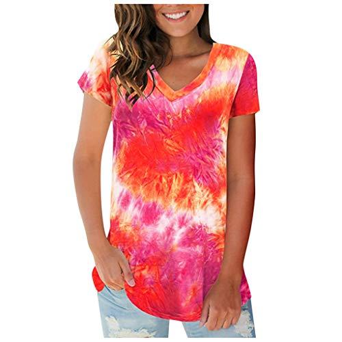 2020 Damen-Sommer-T-Shirts, kurzärmelig, Batik-Oberteil, lockere Bluse, V-Ausschnitt, lässig, große Größe, tolles Geschenk für Frauen, Größe 34-40 Gr. 36, rot