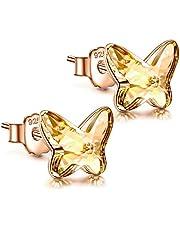 ANGEL NINA Orecchini Donna Orecchini Argento 925 con cristallo dall'Austria Orecchini Attract Farfalla per Bambina Uomo Donna Festa della Mamma con regalo di gioielli-Rosa
