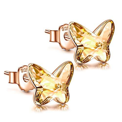 ANGEL NINA Regalo para ella, aretes para mujer, serie mariposa, plata 925 con Cristal, cada momento...