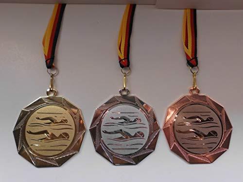 Fanshop Lünen Medaillen Set - Große Stahl 70mm - Gold, Silber, Bronze, Schwimmen - Schwimmensport - mit Alu Emblem 50mm - Gold,Silber,Bronce, Medaillenset - mit Medaillen-Band - (e103) -